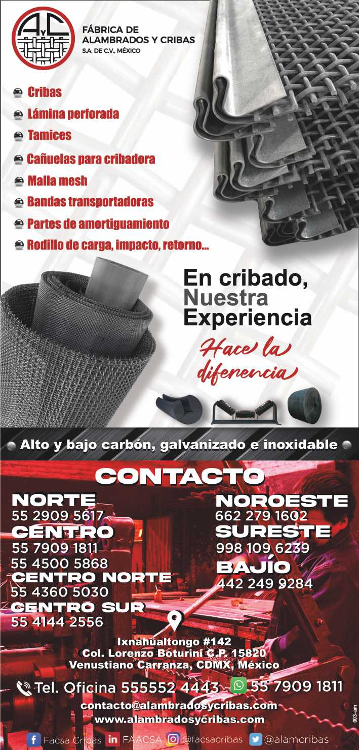 Empresa fabricante de cribas mallas tejidas en diferentes calses de acero, mallas finas y laminas perforadas