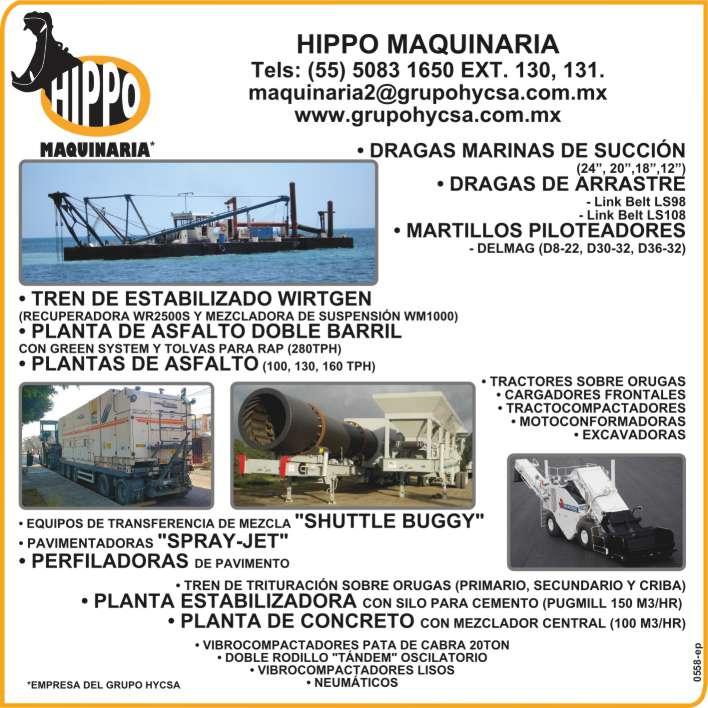 Dragas marinas, martillos  piloteadores, tren de estabilizado  wirtgen, plantas de asfalto,  tractores, cargadores,  tractocompactadores,  motoconformadoras, excavadoras,  pavimentadoras, tren de trituracion,  plantas de concreto,  vibrocompactadores.