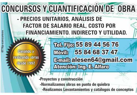 Concursos de Obra, Auditorias, Demandas,  Escalatorias, Gastos no recuperables,  Recesion de Contratos,  Cuantificaciones.