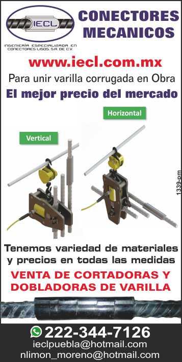 IECL - Ingenieria Especializada en Conectores Lisos, S.A. de C.V.,  Venta de Conectores Mecanicos para unir varilla corrugada, Tecnologia D.P.T.A.S. G-2, variedad de materiales en todas las medidas. Ubicado en Puebla, Pue.