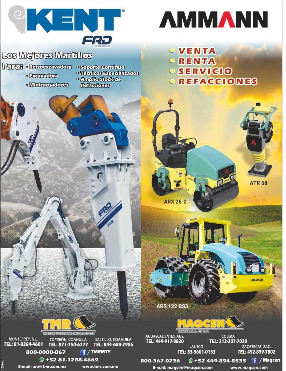 Tractores y Maquinaria Real. Los mejores martillos para retroexcavadoras, excavadoras, minicargadores. Compactadores en venta, renta, servicios, refacciones.