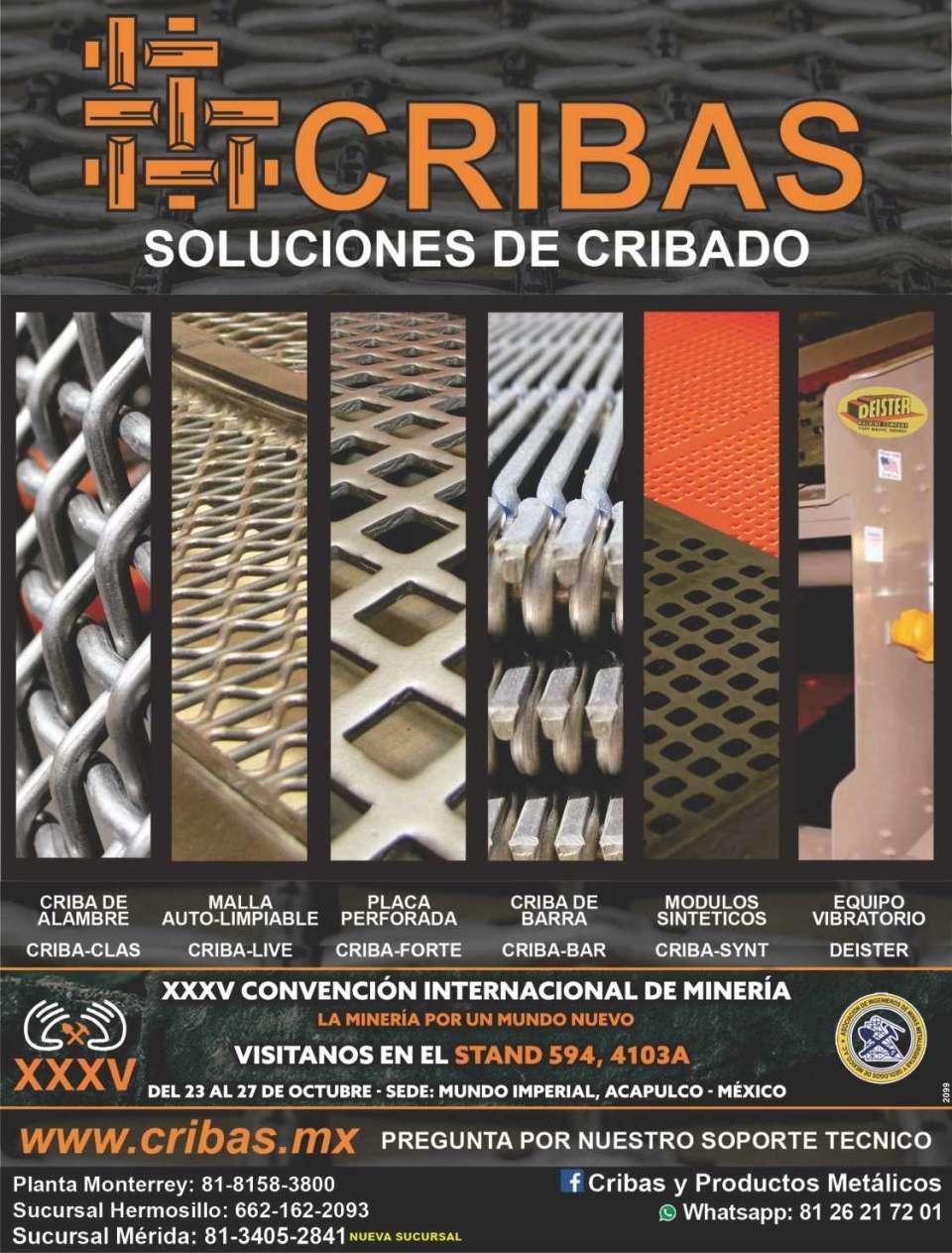 Cribas y Productos Metalicos, cribas de alambre, placa perforada, cribas de barra, cribas de hule y poliuretano, equipos vibratorios