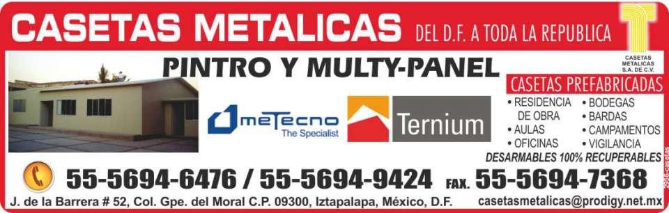 Casetas Metalicas, casetas  prefabricadas, paneles, lamina  acanalada, pintro y multypanel, ternium.