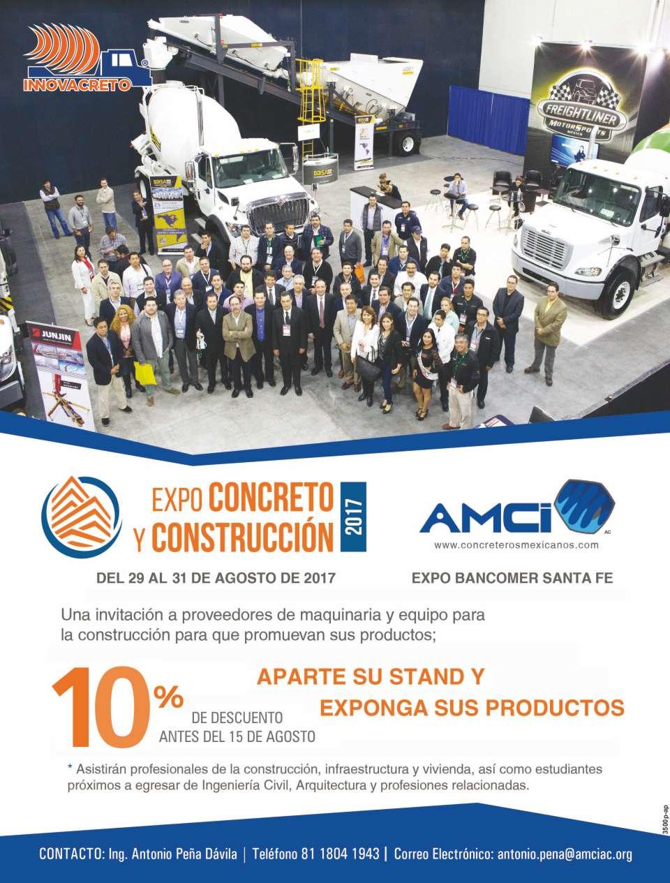 EXPO CONCRETO AMCI en expo Bancomer Santa Fe del 29 al 31 de Agosto 2017  CONGRESO AMCI  EXPO CONCRETO  ciudad de mexico
