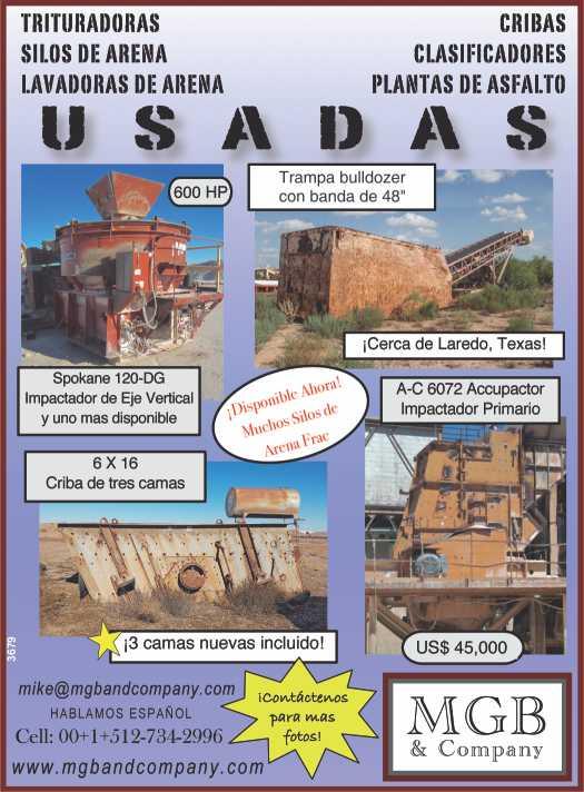 Venta de Equipo Minero Usado: Trituradoras, Cribas, Silos de Arena, Lavadores de Arena, Clasificadores, Plantas de Asfalto