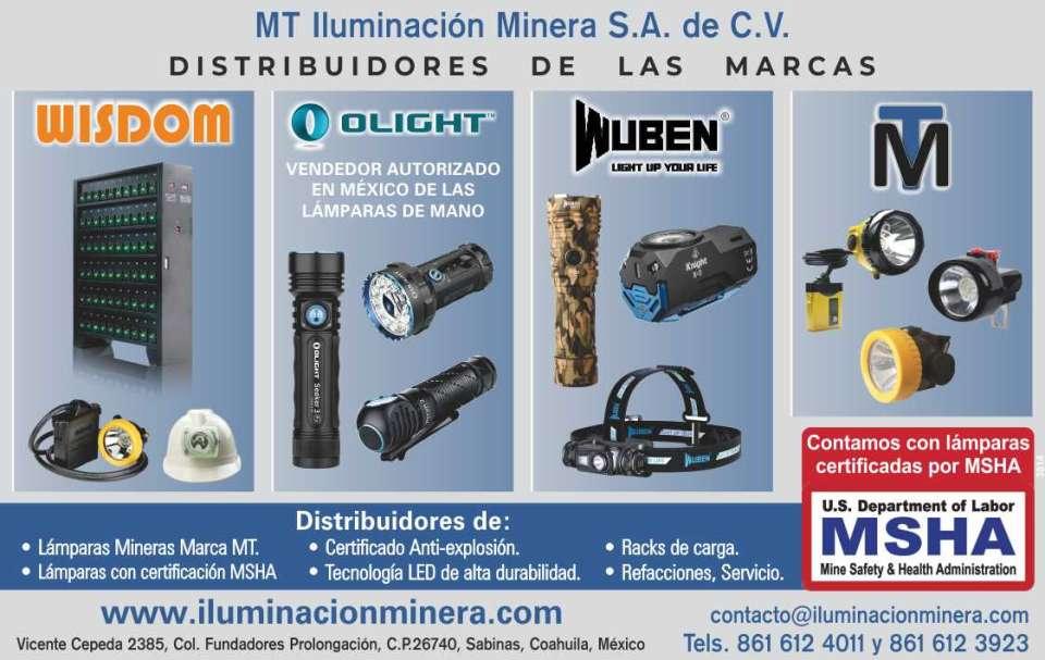 MT Iluminación Minera. Distribuidores de lamparas mineras marca MT, lámparas con certificación MSHA, certificado anti-explosión, tecnología led de alta durabilidad.