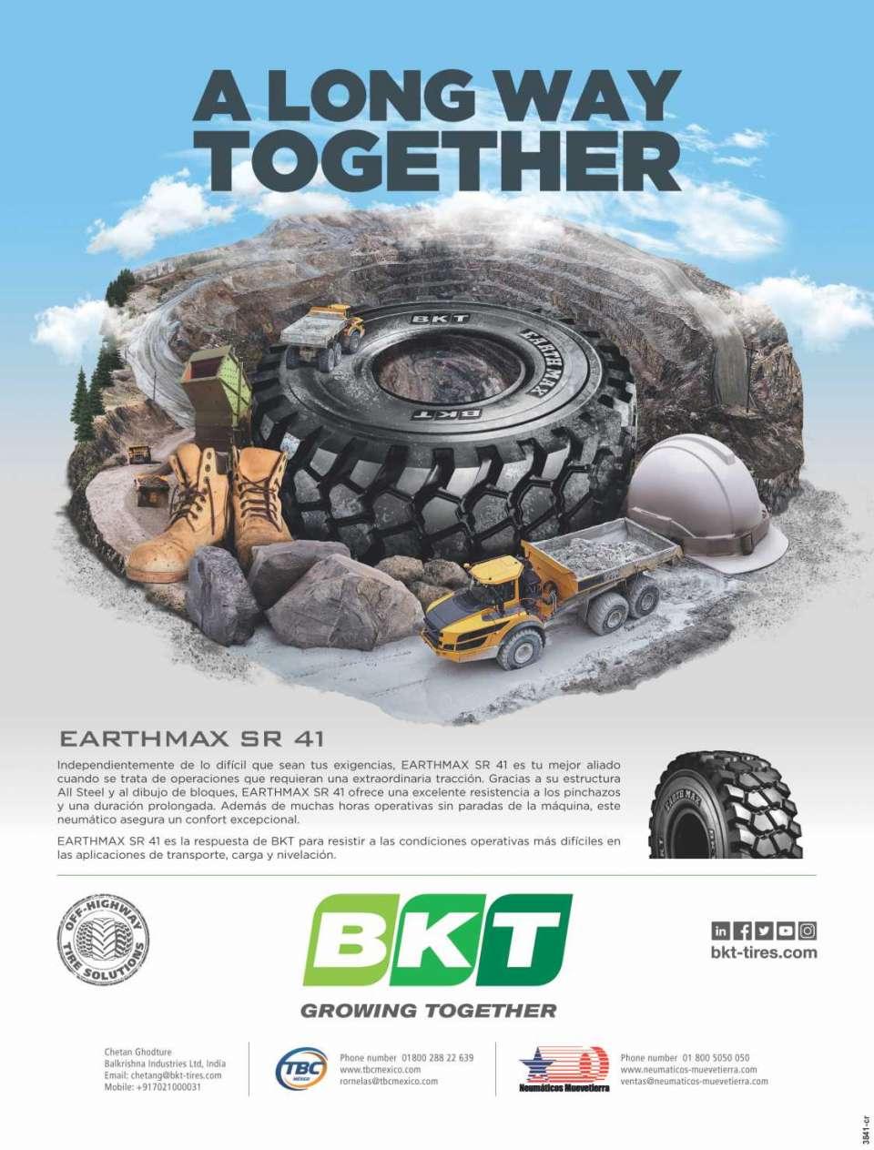 BKT incluye gamas de neumaticos especificos para la construccion y OTR, asi como aplicaciones de transporte y agro-industriales.