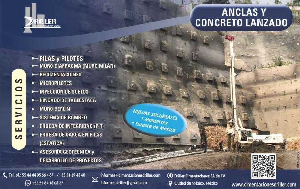 Driller Cimentaciones, concreto  lanzado,  anclajes en suelo o roca, pilas,  pilotes,  micropilotes, mecanica de suelos,  abatimiento del naf, tablaestaca,  inyeccion de suelo.