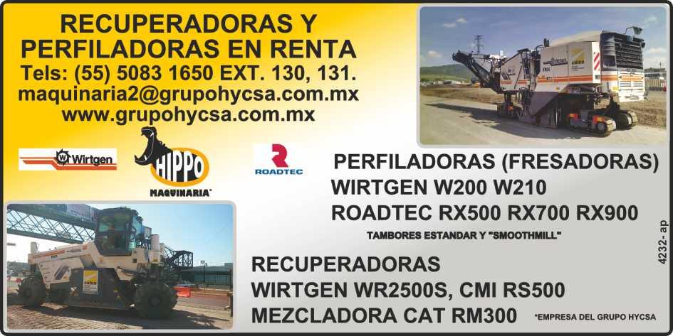 Recuperadoras y Perfiladoras en renta.  Perfiladoras, Fresadoras, Wirtgen W200  y W210, Roadtec RX500, RX700, RX900.  Recuperadoras, Wirtgen WR2500S, CMI  RS500, Mezcladora Cat RM300.