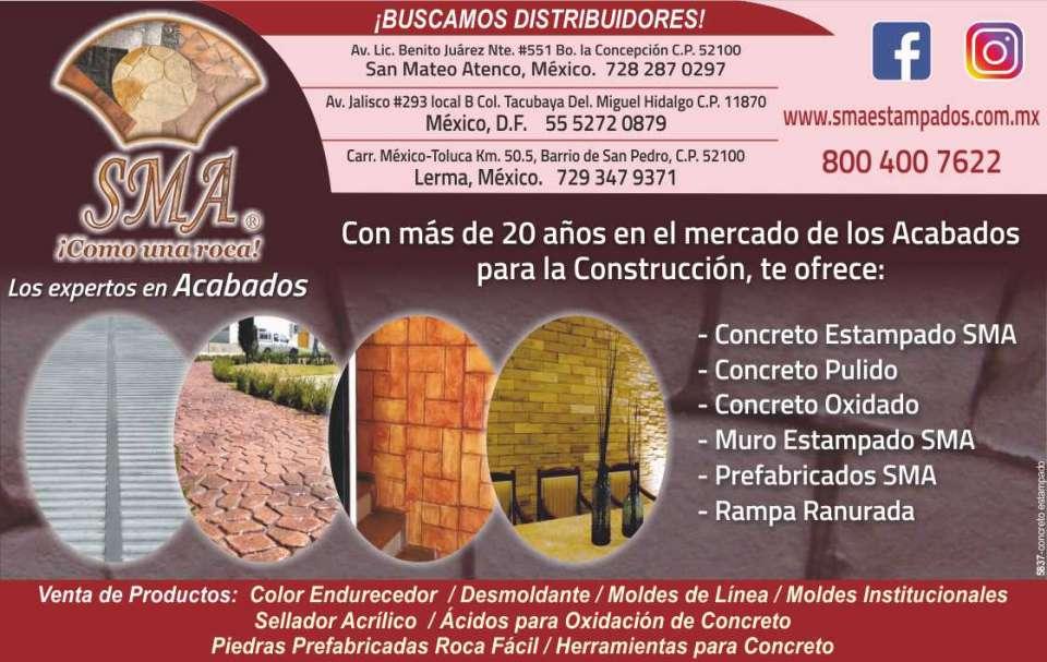 Concreto estampado SMA como una roca Surtimos a toda la republica Mexicana Endurecedor Desmnoldante Sellador Herramientas Moldes Oxidantes para cambiar el color del concreto existente. Los expertos en acabados.