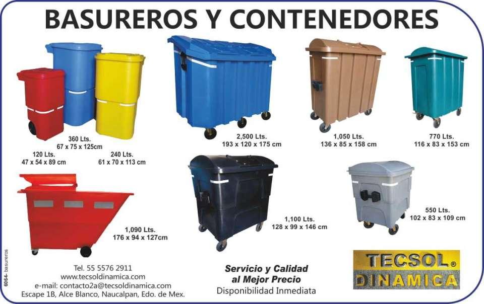 Basureros, Productos de Calidad,  Disponibilidad Inmediata, Fabrica  Orgullosamente Mexicana, diferentes  capacidades.