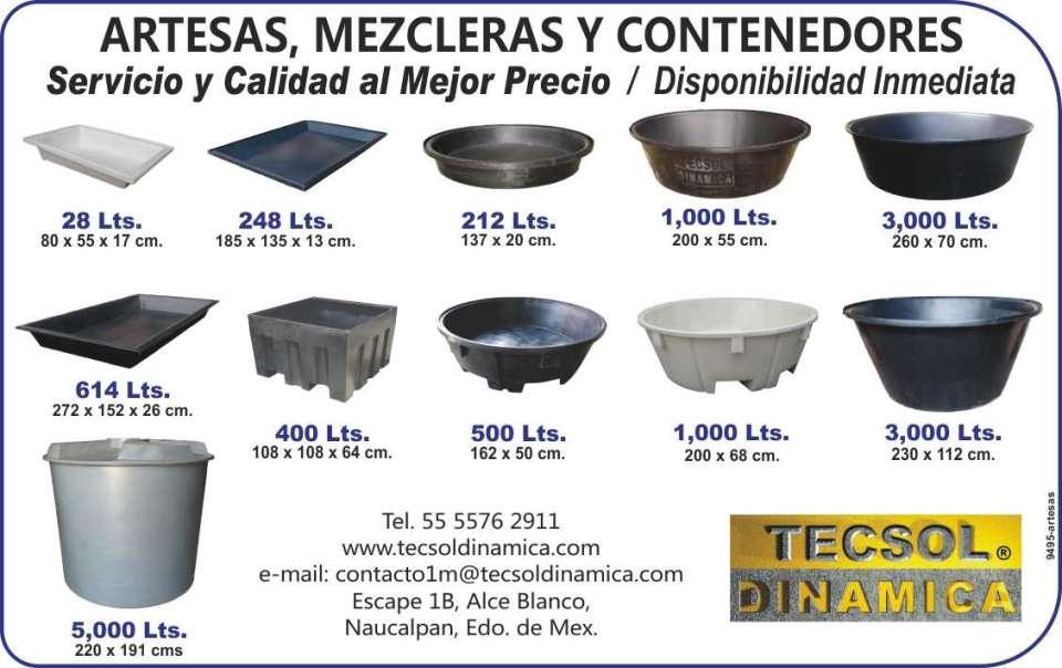 Artesas, Mezcleras y Contenedores,  Fabrica Orgullosamente Mexicana,  Productos de Calidad, Disponibilidad  Inmediata, diferentes capacidades.